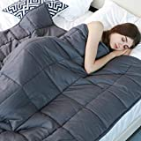 YnM Weighted Blanket (15 lbs, 48''x72'', Twin Size), Premium Cotton & Glass Beads Gravity 2.0 Heavy Blanket, Great Sleep Therapy for People with Anxiety, Autism, ADHD, Insomnia or Stress