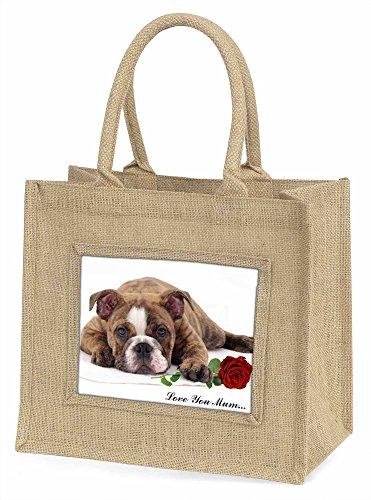 Advanta ad-bu82rlymbln Bulldogge mit Rose Love You Mum Große Einkaufstasche/Weihnachten Geschenk, Jute, beige/natur, 42x 34,5x 2cm