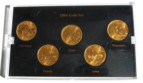 Gold State Quarter Set - 2004 D United States - Denver Mint 5 Gold Quarter Coin Set Without Box or COA Various Seller New