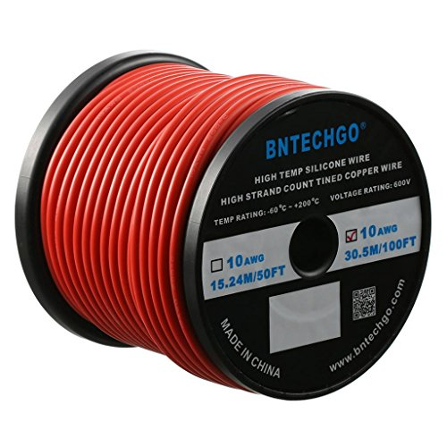 BNTECHGO 10 Gauge Silicone Wire Spool Red 100 feet Ultra Flexible High Temp 200 deg C 600V 10 AWG Silicone Rubber Wire 1050 Strands of Tinned Copper Wire Stranded Wire for Model Battery Low Impedance