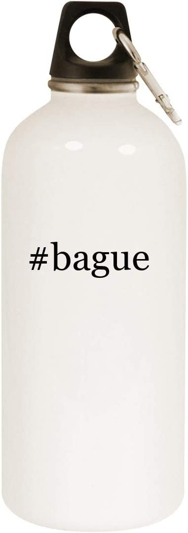 #bague - 20oz Hashtag Stainless Steel White Water Bottle with Carabiner, White
