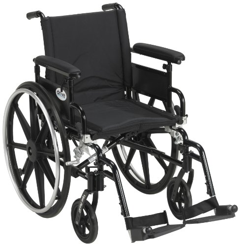 "Drive Medical Viper Plus GT Wheelchair with Flip Back Removable Adjustable Full Arms, Swing Away Footrests, 18"" Seat"