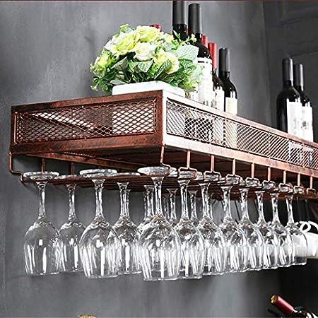 DAGONGREN Estante de la Copa de Vino Boca Abajo Creativo Europeo Estante del cubilete Simple Sala de Estar Que cuelga la Barra del Estante del Vino Que cuelga de la Pared