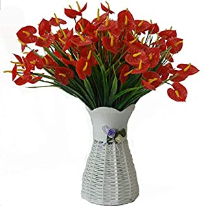 Lopkey Artificial Anthurium Flower Vase Plastic Red Fake Bouquet Indoor Table Decor 11