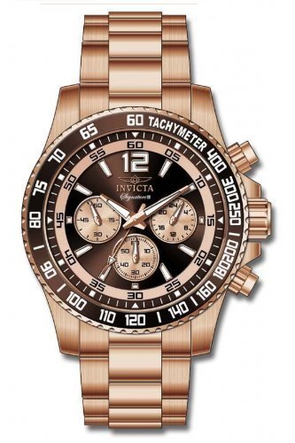 Invicta Mens Signature II Chronograph Brown Dial Rose Gold Stainless Steel Bracelet Watch 7411 ()