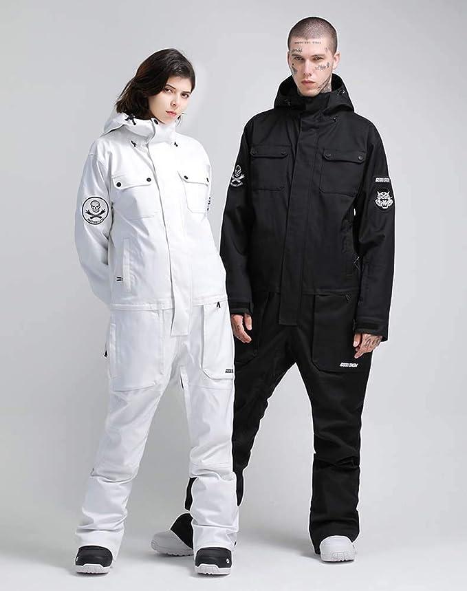 Genma0 Black//White Separatable One-Piece Snowsuit Waterproof Windproof Taslon Reflective for Adults//Men//Women