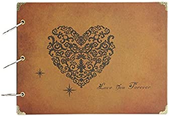Photo Album,MAMACHU DIY Retro Photo Book Scrapbook Travel Memories Notebook,Wedding Scrapbook Photo Album,Anniversary Mother's Day Gift,60 Black Pages (Love You Forever)