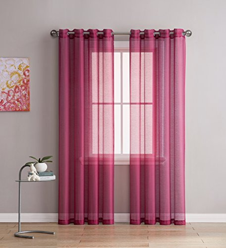 Grommet Semi-Sheer Curtains - 2 Pieces - Total Size 108 Inch Wide (54 Inch Each Panel) - 95 Inch Long - Panel Beautiful, Elegant, Natural Light Flow, and Durable Material (Burgundy)