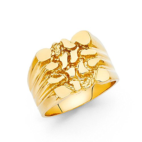 Mens Nugget Ring Solid 14k Yellow Gold Textured Band Diamond Cut Genuine Heavy 15MM Size 10