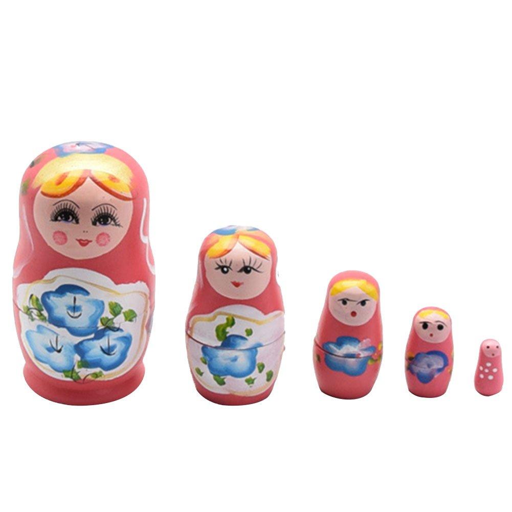 Set Russian Matryoshka Dolls Cutie Nesting Madness Toys Wooden Handmade Crafts Doll Home Decor Kids Gifts alextreme 5pcs