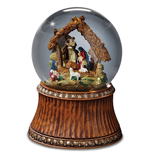 Snowglobe Scene Nativity (The San Francisco Music Box Company Nativity Holiday Water Globe with Stable - Plays The First Noel - 4