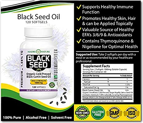 Amazing Black Seed Oil Capsules - Organic Black Cumin Oil - Max Strength 1000 Milligram, Darkest, Highest TQ Content 1.08 Percent - Premium Nigella Sativa Herb - Undiluted, Cold Pressed, Virgin Oil