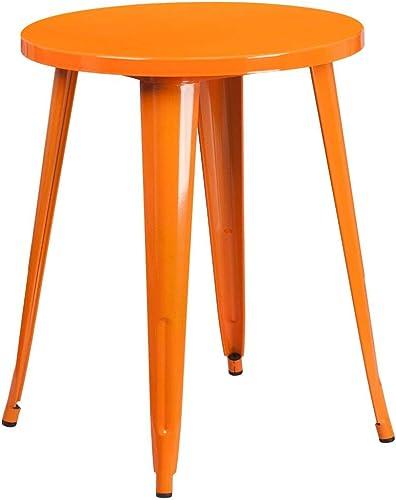 Flash Furniture Commercial Grade 24″ Round Orange Metal Indoor-Outdoor Table Set