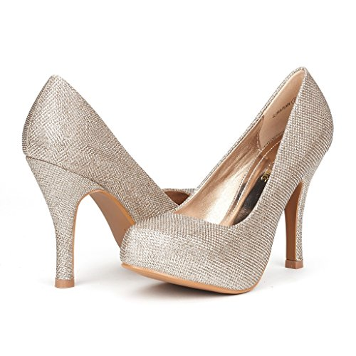 DREAM PAIRS GLORIA-PLAIN Women's New Modern Classic Close Toe Dress Platform Pump Elegant Versatile Stiletto Heel,GLORIA-PLAIN-GOLD GLITTER,7