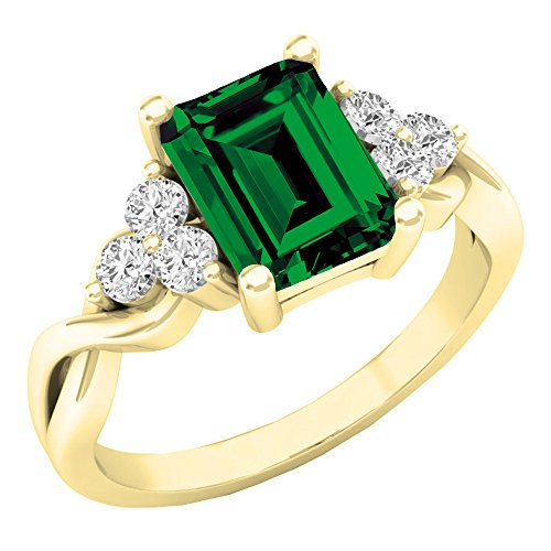 (Dazzlingrock Collection 10K 8X6 MM Lab Created Emerald & White Sapphire Engagement Ring, Yellow Gold, Size 7)