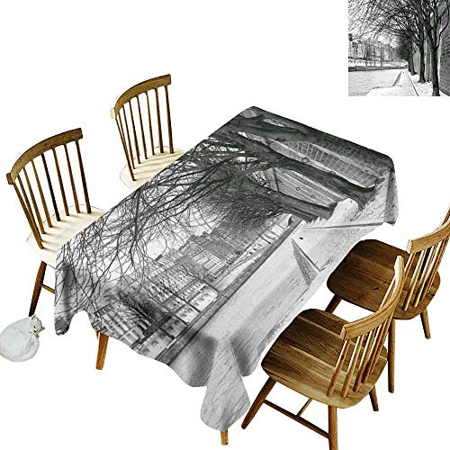 W Machine Sky Wrinkle Resistant Tablecloth Black and White Decorations Seine River Paris France Snowy Winter in Urban City Trees W60 xL120 for Family Dinners,Parties,Everyday Use -