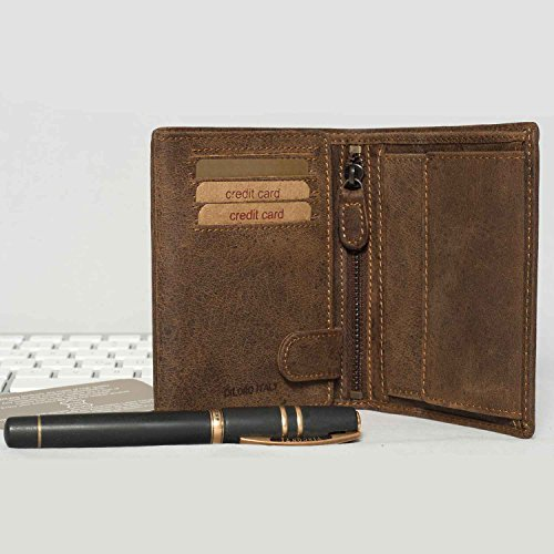 Leather Dark Coin Blocking Compartment Vertical Wallets Hunter Slots Bifold Zip Wallet Flip RFID by ID Mens Brown and Italy DiLoro 0P6TTRA