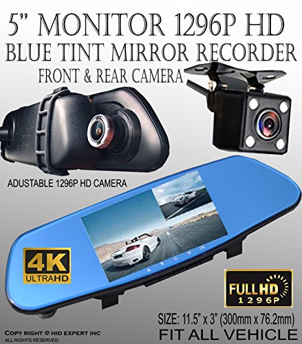 ICBEAMER 5'' Monitor 4k Ultra HD High Def 1296P Front Back Car Camera Blue Tint Interior 300mm Rearview Mirror Mini SD Slot by ICBEAMER (Image #1)