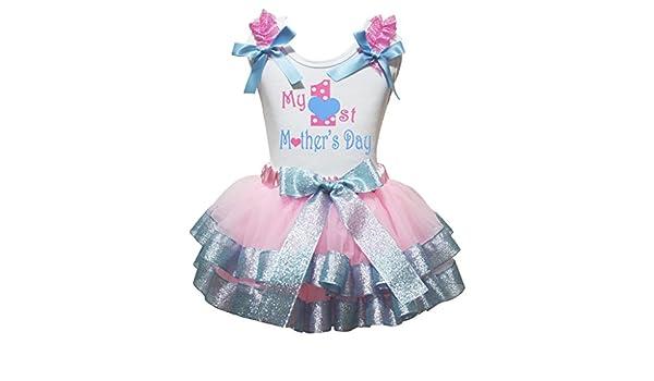 Petitebella 3rd Fathers Day White Shirt Dots Pink Petal Skirt Set Nb-8y