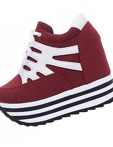 ZQ Zapatos de mujer-Tac¨®n Cu?a-Cu?as-Tacones-Casual-Tejido-Negro / Rojo , red-us6 / eu36 / uk4 / cn36 , red-us6 / eu36 / uk4 / cn36 black-us6.5-7 / eu37 / uk4.5-5 / cn37