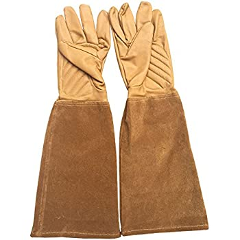 Rose Pruning Gloves Thorn Proof Goatskin Leather Gardening Gloves With  Cowhide Suede Gauntlet Sleeves For Men
