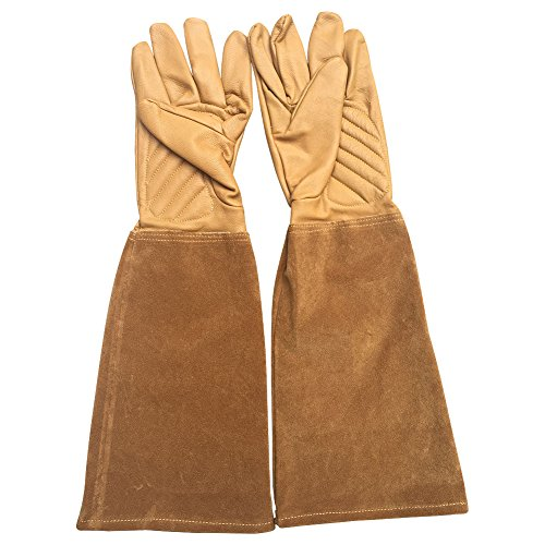 Suede Leather Garden Glove (Rose Pruning Gloves Thorn Proof Goatskin Leather Gardening Gloves With Cowhide Suede Gauntlet Sleeves for Men and Women YLST04 (M-8))