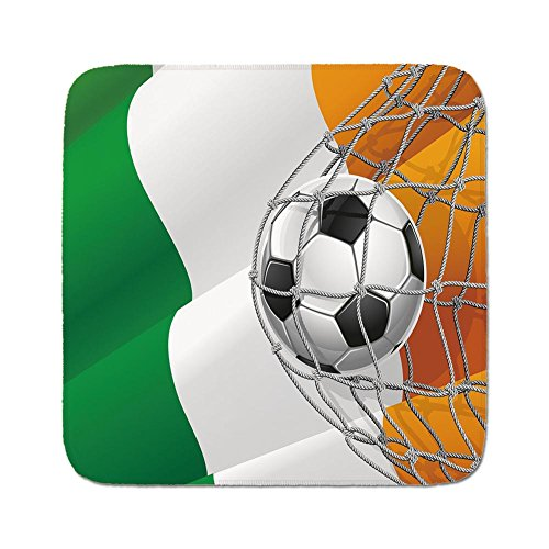 Cozy Seat Protector Pads Cushion Area Rug,Irish,Sports Theme Soccer Ball in a Net Game Goal with Ireland National Flag Victory Win,Multicolor,Easy to Use on Any Surface