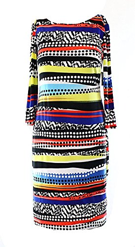 Abstract Print Dress (Nine West Sheath Striped Abstract-Print Dress (2, Fireglow Combo))
