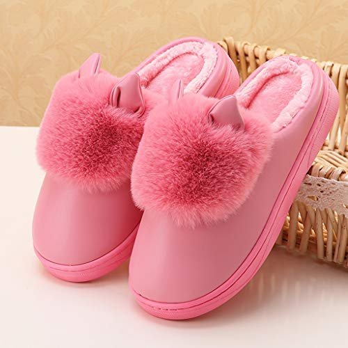 Home Shoes Female Package Slippers Low Heavy Winter Aminshap bottomed Warm Cotton Shoes Plush Interior Pink Dark With qEvwC6v