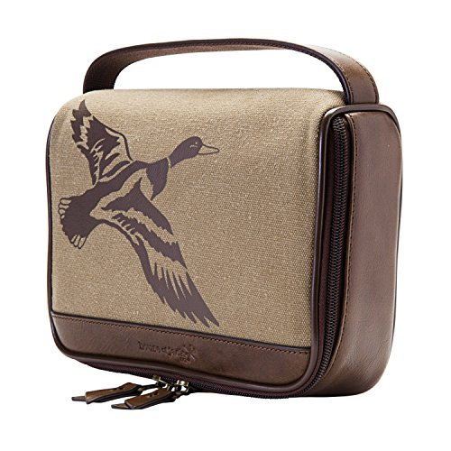 HOJ CO. Duck Zip Around Toiletry Bag - Canvas & Leather Men's Dopp Kit - Toiletry Organizer