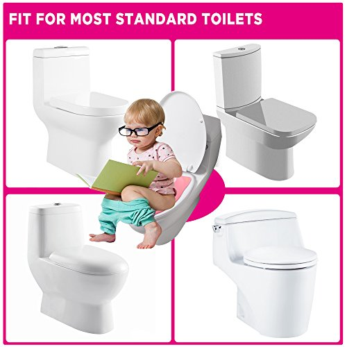 Large Product Image of Gimars Upgrade Large Non Slip Silicone Pads Travel Folding Portable Reusable Toilet Potty Training Seat Covers Liners with Carry Bag for Babies, Toddlers and Kids, Pink