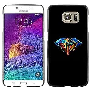 Be Good Phone Accessory // Dura Cáscara cubierta Protectora Caso Carcasa Funda de Protección para Samsung Galaxy S6 SM-G920 // Diamond Colorful Art Painting Black