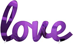 4ArtWorks - 3D Cursive Love Table Decor (Purple Mirror Finish) for Dorm Rooms, Living Spaces, Bedrooms and Modern Offices & Desks | Love Script Sign with Transparent Acrylic Base | Great Gift Idea