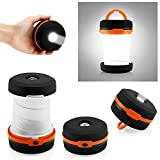 Oct17 Camping Portable LED Light Foldable Collapsible Lantern Flashlight Outdoor Lamp Hiking Lantern - Orange