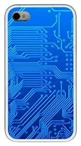 Blue Circuitry13 TPU Case Cover for iPhone 4 and iPhone 4S White