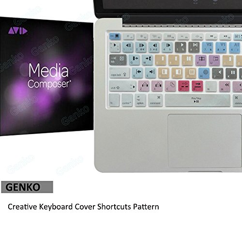 Genko Avid Media Composer Shortcut Keyboard Cover Waterproof Silicone Mac Skin Compatible with Macbook Air 13 & Macbook Pro 13 15 17, Retina (US/European ISO Keyboard) (EU/US Both)