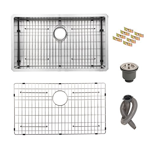 Esright 32 Handmade Kitchen Sink 16 Gauge Single Bowl Stainless Steel Sink with Solid Bottom Grid