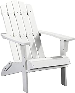 PolyTEAK Classic Folding Poly Adirondack Chair | Adult-Size, Weather Resistant, Made from Special Formulated Poly Lumber Plastic (White2)