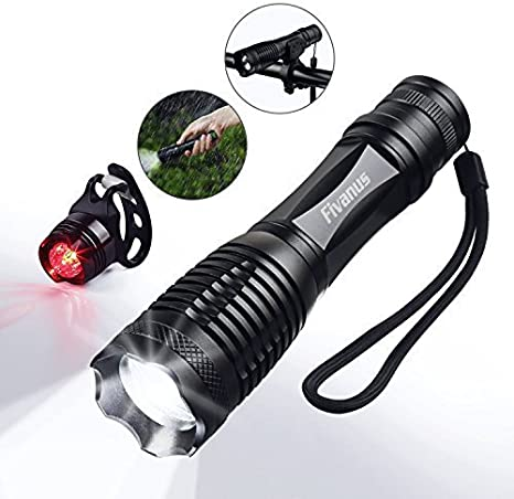 Fivanus Linternas LED, Luces para Bicicletas 900LM 5 Modos Bicicleta Impermeable Luz Ultra Brillante Flashlight para Camping/Caza/Ciclismo/Emergencia, Viene con Luz Trasera (3 Modos): Amazon.es: Deportes y aire libre