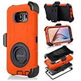 S6 Case, Galaxy S6 Case, Aitech Ultra Shock&drop-proof Amy-grade Protective Hard Defender Case and Three Layer Hard Shell Cover Holster with 360 Degree Rotating Ring Bracket Protective Case for Samsung Galaxy S6-- TPU Rubber & Silicone Case with Stand & Clip for Samsung Galaxy S6 (Orange+Black)