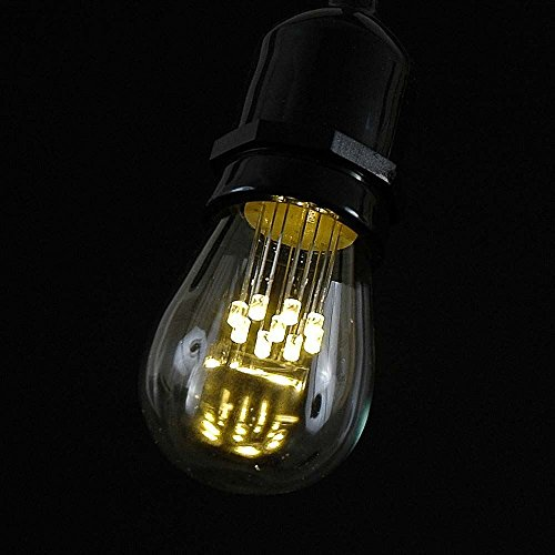 25 Count Led (Novelty Lights 25 Pack LED S14 Outdoor Patio Edison Replacement Bulbs, Warm White, E26 Medium Base, 1 Watt)