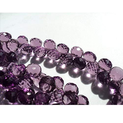 Gems World Beautiful Jewelry - Briolette de amatista morada con diseño de uva, cuarzo y micro cebolla facetada, abalorio de...