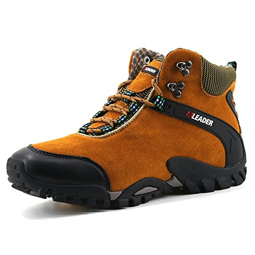 Aleader Men's Leather Waterproof Hiking Boots Outdoor Shoes Brown 8 D(M) US