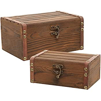 Set of 2 Rustic Torched Wood Finish Decorative Nesting Boxes / Jewelry u0026 Trinket Storage Chests  sc 1 st  Amazon.com & Amazon.com: Wooden Pine Box with Hand Holes and a Drop on Lid ... Aboutintivar.Com