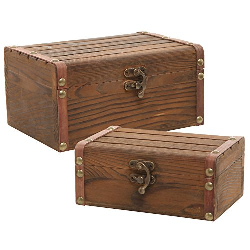 MyGift Set of 2 Rustic Torched Wood Finish Decorative Nesting Boxes/Jewelry & Trinket Storage Chests w/Latch (Box Trinket Storage)