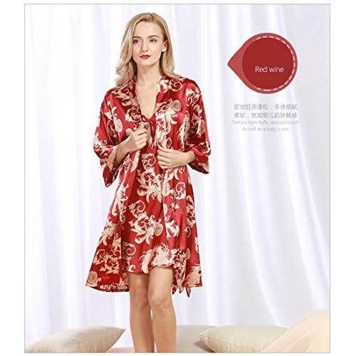 85003682f4f9 durable modeling Daiwenwo Women Robe Gown Set Sleepwear Faux Silk Luxurious  Ladies Summer Bath Robe Nightdress