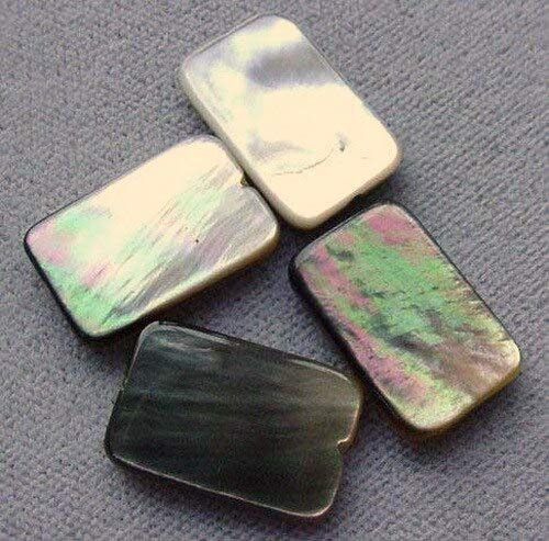 4 Tahitian Mop Shell Flat Rectangle Beads for Jewelry Making 4380