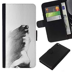 For HTC DESIRE 816 Case , Charcoal Art Sad Painting Grey - la tarjeta de Crédito Slots PU Funda de cuero Monedero caso cubierta de piel