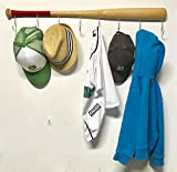 Wall Mounted Hanging Hardwood Baseball Bat Hat Coat Jersey & Cap Rack Display: Useful & Unique Gift Idea for Baseball Lovers or the Perfect Hallway Mudroom Organization System l Red Handle