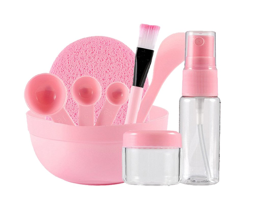9 In1 máscara de mezcla Bowl cepillo Stick espátula calibre cuchara botella Puff facial Make Up Tool DIY conjunto casero, rosa (9 en 1): Amazon.es: Belleza